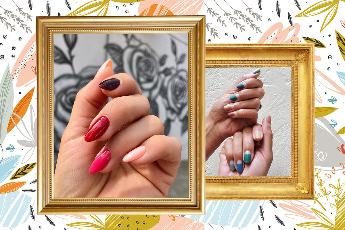 разноцветные ногти - тренд осеннего маникюра