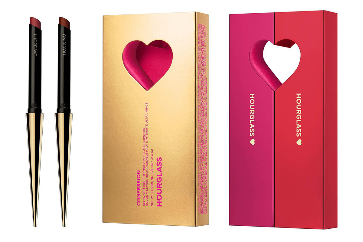 Hourglass, Confession Ultra Slim High Intensity Refillable Lipstick Duo Valentines Day 2020