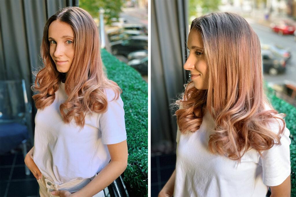Розовое золото волосы