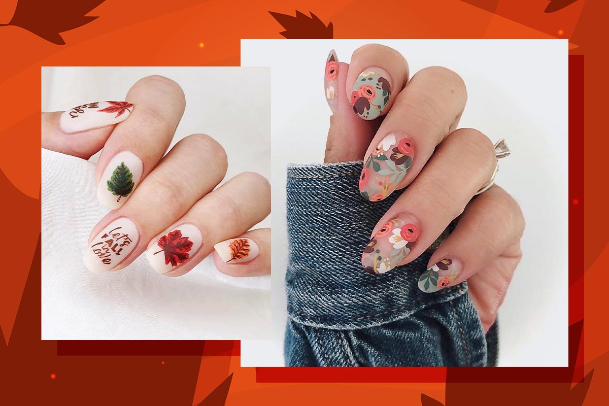 Пора вдохновения: маникюр с осенними листьями и цветами