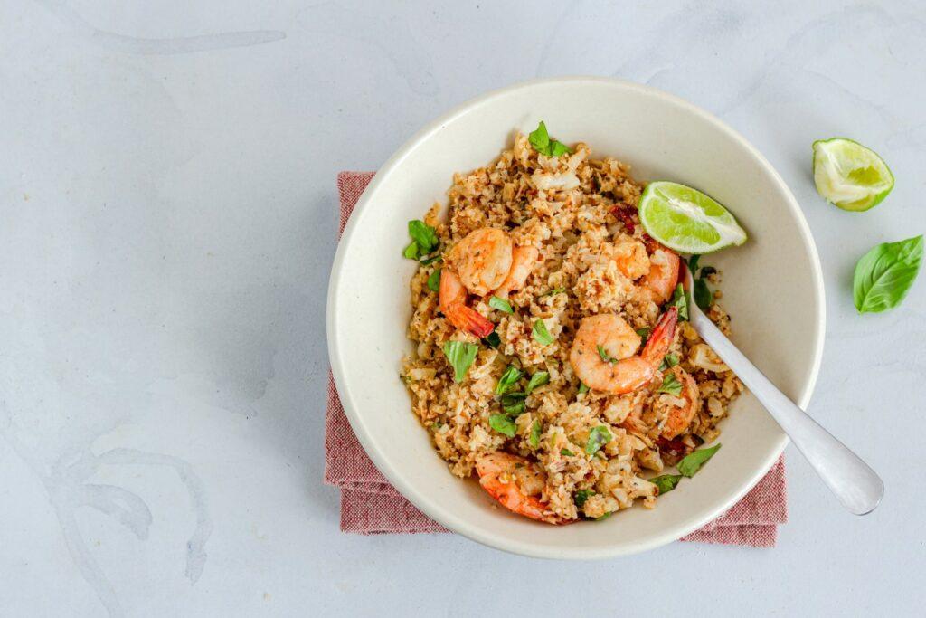 Рис «жасмин» з руколою і креветками